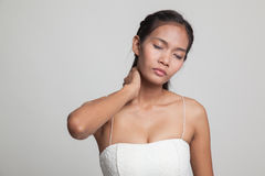 Young Asian woman got neck pain. Stock Images