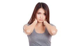 Young Asian woman got neck pain Royalty Free Stock Photos