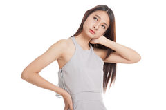 Young Asian woman got neck pain Royalty Free Stock Photography
