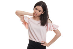 Young Asian woman got neck pain. Royalty Free Stock Image