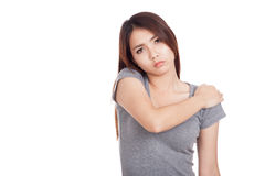 Young Asian woman got shoulder  pain Royalty Free Stock Photo