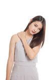 Young Asian woman got shoulder pain Royalty Free Stock Image