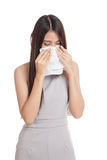 Young Asian woman got sick and cold Stock Photo