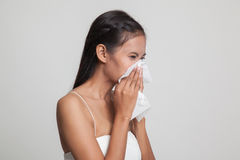 Young Asian woman got sick and flu. Royalty Free Stock Image