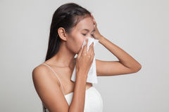Young Asian woman got sick and flu. Stock Images