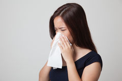 Young Asian woman got sick and flu. Stock Photo