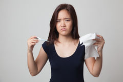 Young Asian woman got sick and flu. Royalty Free Stock Photography