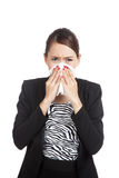 Young Asian woman got sick and flu Royalty Free Stock Image