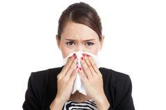 Young Asian woman got sick and flu Stock Photo