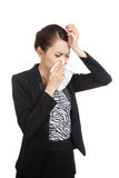 Young Asian woman got sick and flu Stock Image