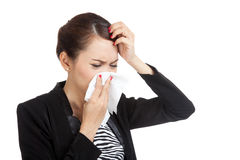 Young Asian woman got sick and flu Stock Images
