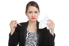 Young Asian woman got sick and flu Royalty Free Stock Photography