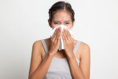 Young Asian woman got sick and flu. Stock Photography