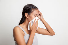 Young Asian woman got sick and flu. Royalty Free Stock Photos