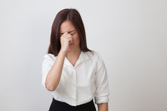 Young Asian woman got sick and  headache. Stock Images