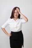 Young Asian woman got sick and  headache. Stock Photos