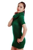 Young Asian woman with green knit dress isolated Royalty Free Stock Photography