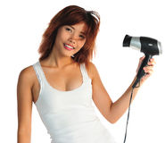 Young asian woman with hair-dryer Stock Photos