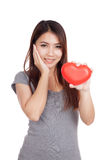 Young Asian woman happy with red heart Stock Images