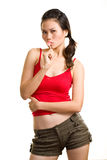 Young asian woman having fun with lollipop Stock Images