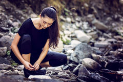 Young Asian woman hiker by the river Royalty Free Stock Images