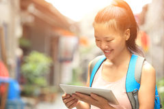 Young asian woman hold blank digital tablet Royalty Free Stock Photography