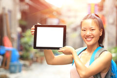 Young asian woman hold blank digital tablet Stock Photography