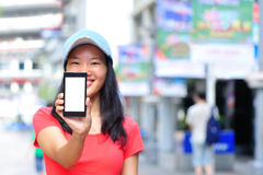 Young asian woman hold smart phone Royalty Free Stock Image