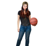 Young asian woman holding basket ball Royalty Free Stock Photography