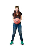 Young asian woman holding basket ball. Over white royalty free stock photo
