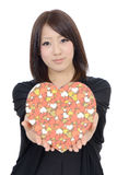 Young asian woman holding a gift box Stock Image