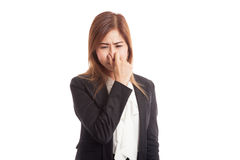 Young Asian woman  holding her nose because of a bad smell Stock Photography