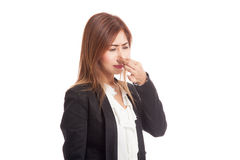 Young Asian woman  holding her nose because of a bad smell Stock Images