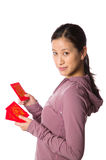 Young asian woman holding lai see Royalty Free Stock Image