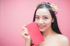 Young asian woman holding Red Packet Stock Photography