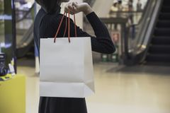 Young Asian woman holding shopping bag in shopping mall. Shopping concept stock photos