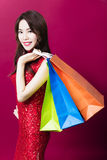 Young asian woman holding the  shopping bags Stock Photo