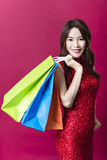 Young asian woman holding the  shopping bags Stock Image