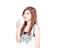 Young Asian Woman invite to drink a water Royalty Free Stock Photo