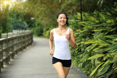 Young asian woman jogging at park Stock Image