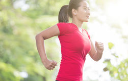 Young asian woman jogging at the park Royalty Free Stock Image