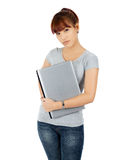 Young Asian Woman with a Laptop Computer Royalty Free Stock Images