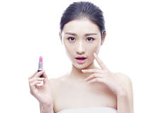 Young asian woman with lipstick Stock Photos