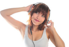 Young asian woman listening music Royalty Free Stock Images