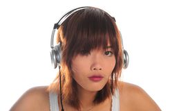 Young asian woman listening music Stock Photo