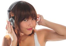 Young asian woman listening music Royalty Free Stock Image