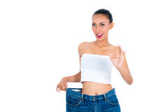 Young Asian woman losing weight. By living healthy Royalty Free Stock Photo