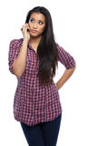 Young asian woman making a call in studio Royalty Free Stock Photo