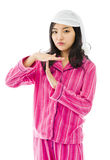 Young Asian woman making time out signal with hands Royalty Free Stock Photo