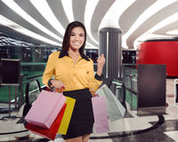 Young asian woman with many shopping bag Royalty Free Stock Image